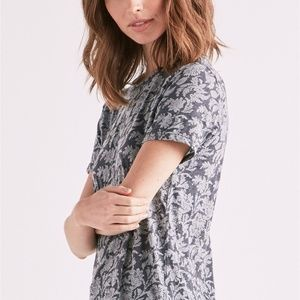 NWT Lucky Brand Monochrome Floral Print Tee XS